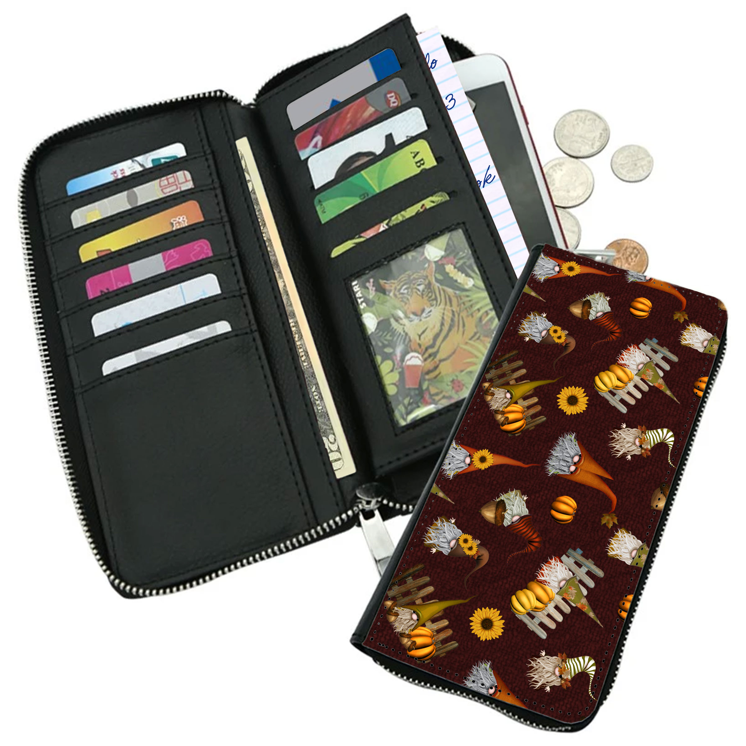 Autumn Gnomes Zippered Wallet