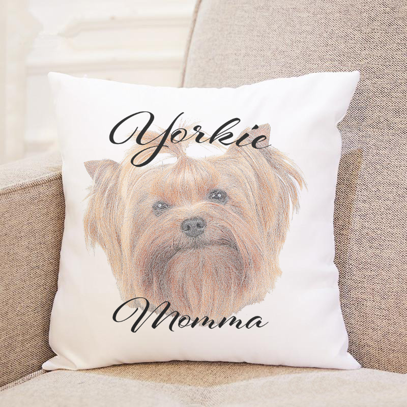 Dog Momma Pillow Case  - Yorkie
