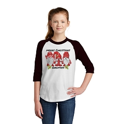 Merry Christmas Gnomies Youth Raglan